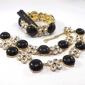 Ann Taylor Rhinestone Black Necklace & Bracelet